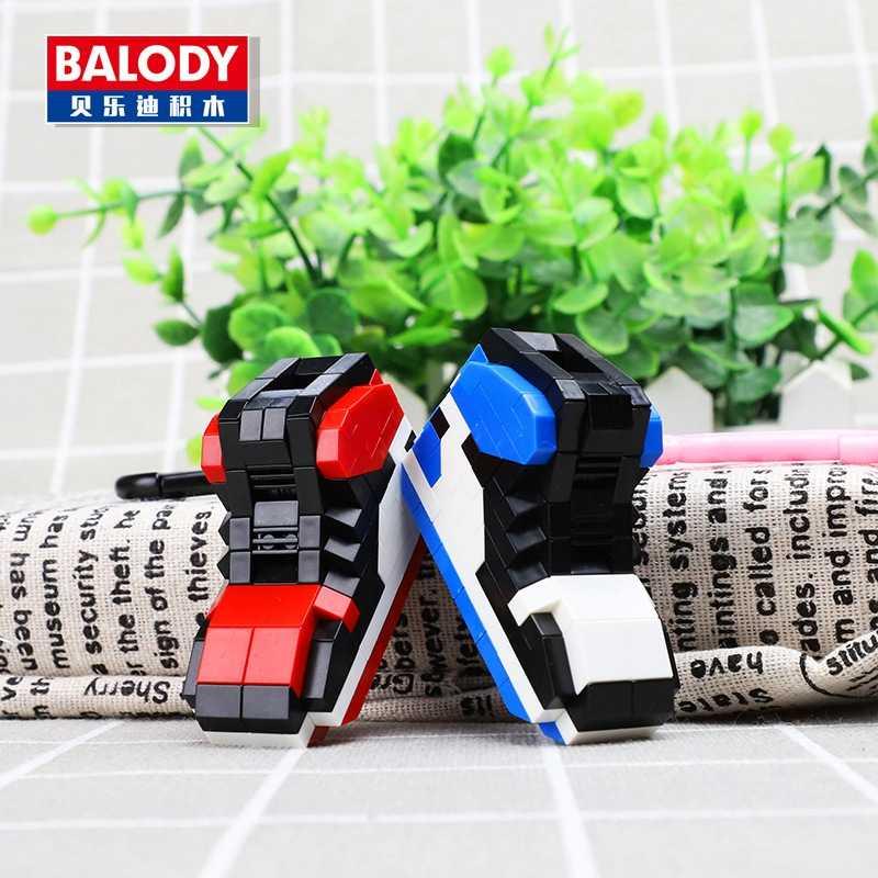 מיני בלוקים לבנים DIY מפתח שרשרות Legoing נעלי דגם בניין Sneaker Keychain רכב אביזרי תיק מפתח טבעות מפתח מחזיק צעצועים