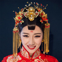 Vintage Chinese Style Classical Wedding Jewelry Sets Gold Plated Phoenix Coronet Bridal Accessories Hair Clips Earrings