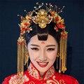 Estilo Clássico Chinês do vintage Conjuntos de Jóias de Casamento Banhado A Ouro Phoenix Coronet Acessórios grampos de Cabelo de Noiva Brincos Artesanais