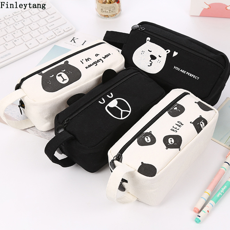 Cute Animal Bear Stationery Pencil Case Canvas High Capacity Pencil Bag School Stationery Supplies Kid Gift Novelty Pencil Box