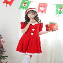 New Arrival Women's Fur Hats MiDi Red Long Sleeve Princess Dress Stage Performance Clothing Christmas Costumes