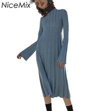 Nicemix 2018 осень-зима Платья-свитеры Для женщин 100% Платья из хлопка длинный вязаный Свитеры для женщин тонкий эластичный Платья для женщин Femme Vestidos