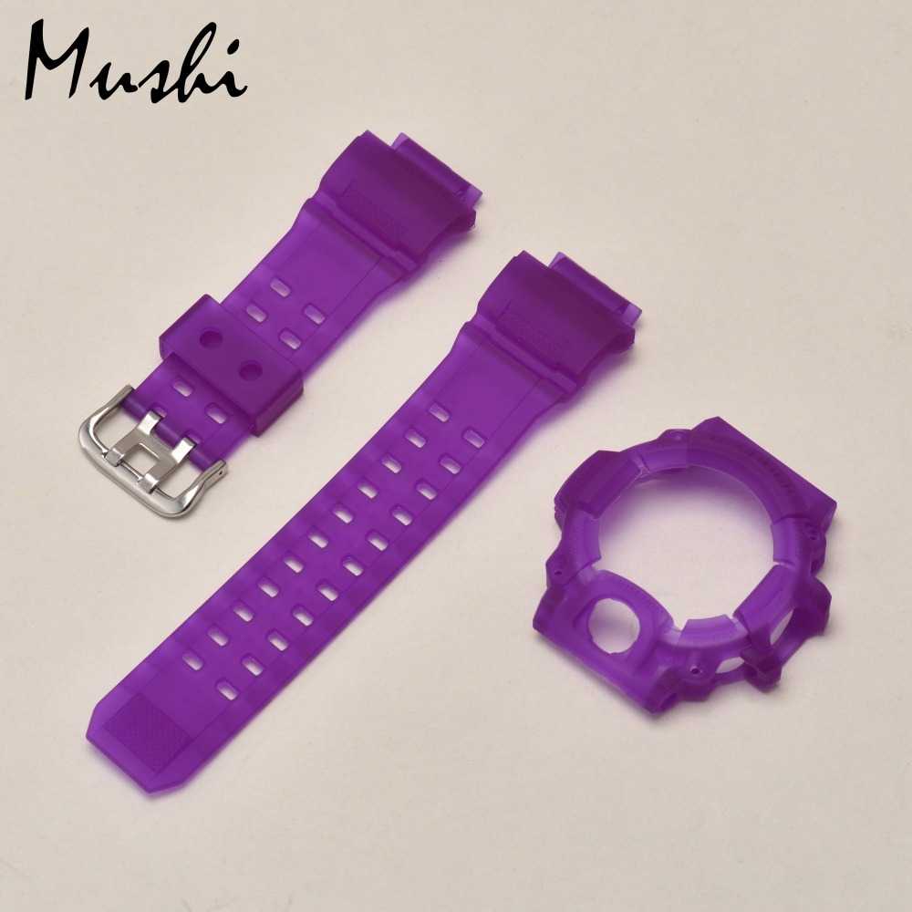Mushi Rubber Watch Strap for Casio <font><b>GW</b></font>-<font><b>9400</b></font> Black Translucent Blue Yellow Red Green Violet Watch Band Watch Case with Tool image