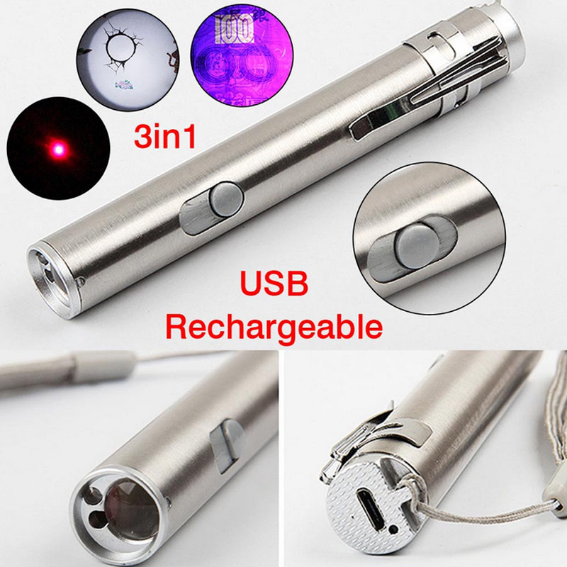 New 3 in1 Mini USB Rechargeable LED Laser UV Torch Pen Flashlight Multifunction Lamp CLH@8