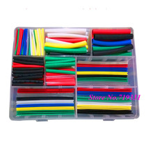 385pcs 1.0mm-12mm Heat Shrink 9 Sizes Tubing Kit 7 Colors Assortment Ratio 2:1 Heat Shrink Tubing Tube Sleeving Wrap Kit box