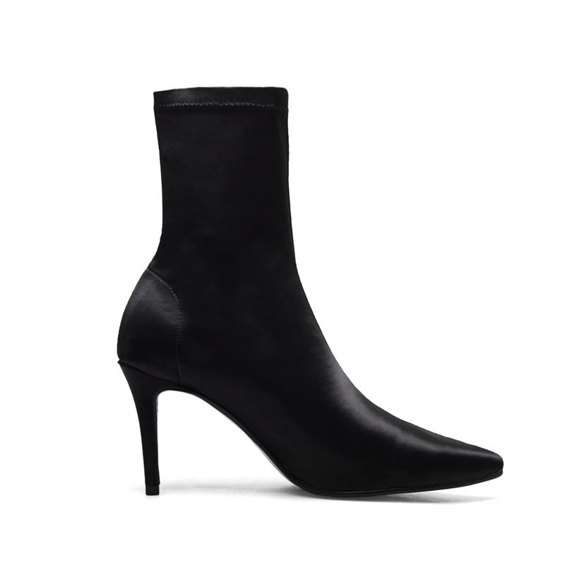 Taille Bottines Anmairon black Bout Talon Femmes Mujer Mode Grande Pointu 34 Apricot De Dame Botas 40 Zyl1223 Mince Haut TJc3lK1Fu