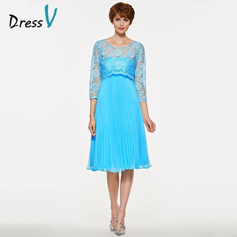 Платье SV мать невесты платье на заказ Свадебная вечеринка платье с круглым вырезом 3/4 рукав плиссированная длиной до колена элегантное ТРАП...