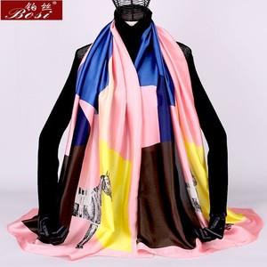 women scarf print floral winter plaid sjaal silk feel luxury brand Fashion ladies poncho large shawls wraps cape oversize wape(China)