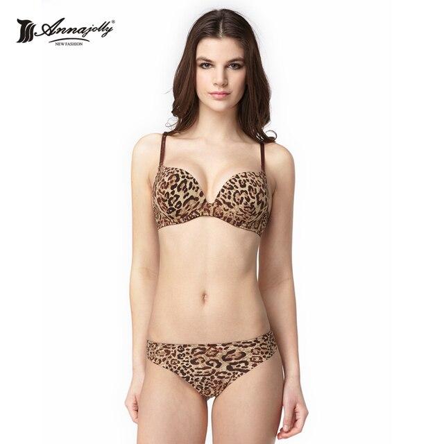 Annajolly Women Bras Underwire Bralettes Underwear Women Sexy Leopard Lingerie sujetadores mujer Top sujetador Bra Set New 1108