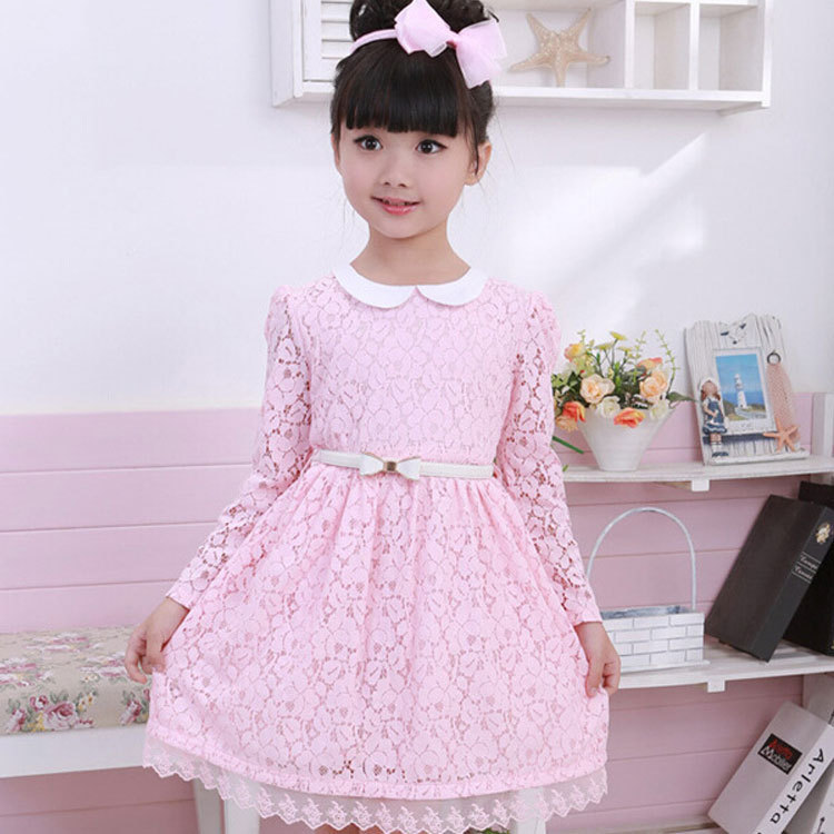 21bb449f26c6 2017 New Autumn Baby Kids Dresses For Girls Long sleeves Lace Cotton  Princess Dress 2-9 Age Girls Children Clothes With Belt 810