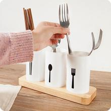 Fashion Oak Base Chopsticks Container Tableware Chopsticks Rack Fork Spoon Storage Box