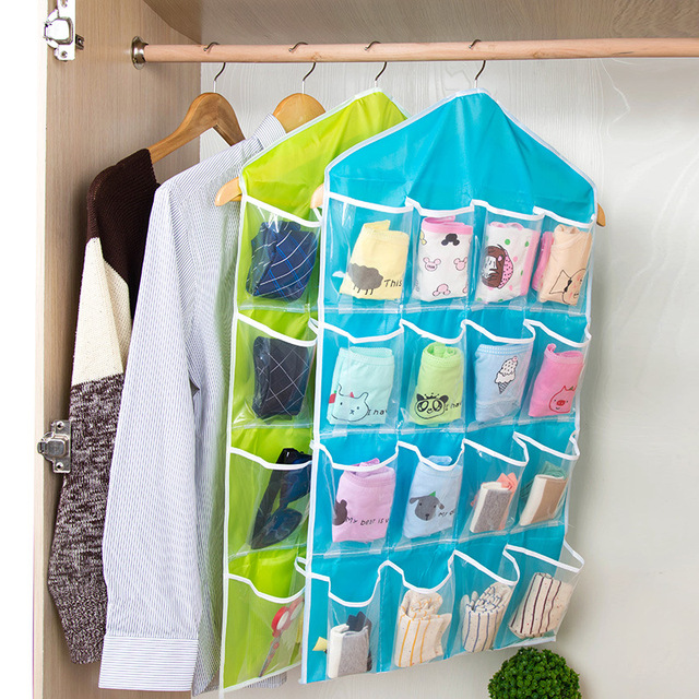Yinuo Clear 16 Pockets Socks Shoe Toy Underwear Slippers Jewelry Sorting Storage Bag Door Wall Hanging