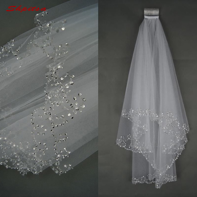 White or Ivory Short Wedding Veil with Crystal Edge with Comb 2 Beaded Bride Bridal Veils