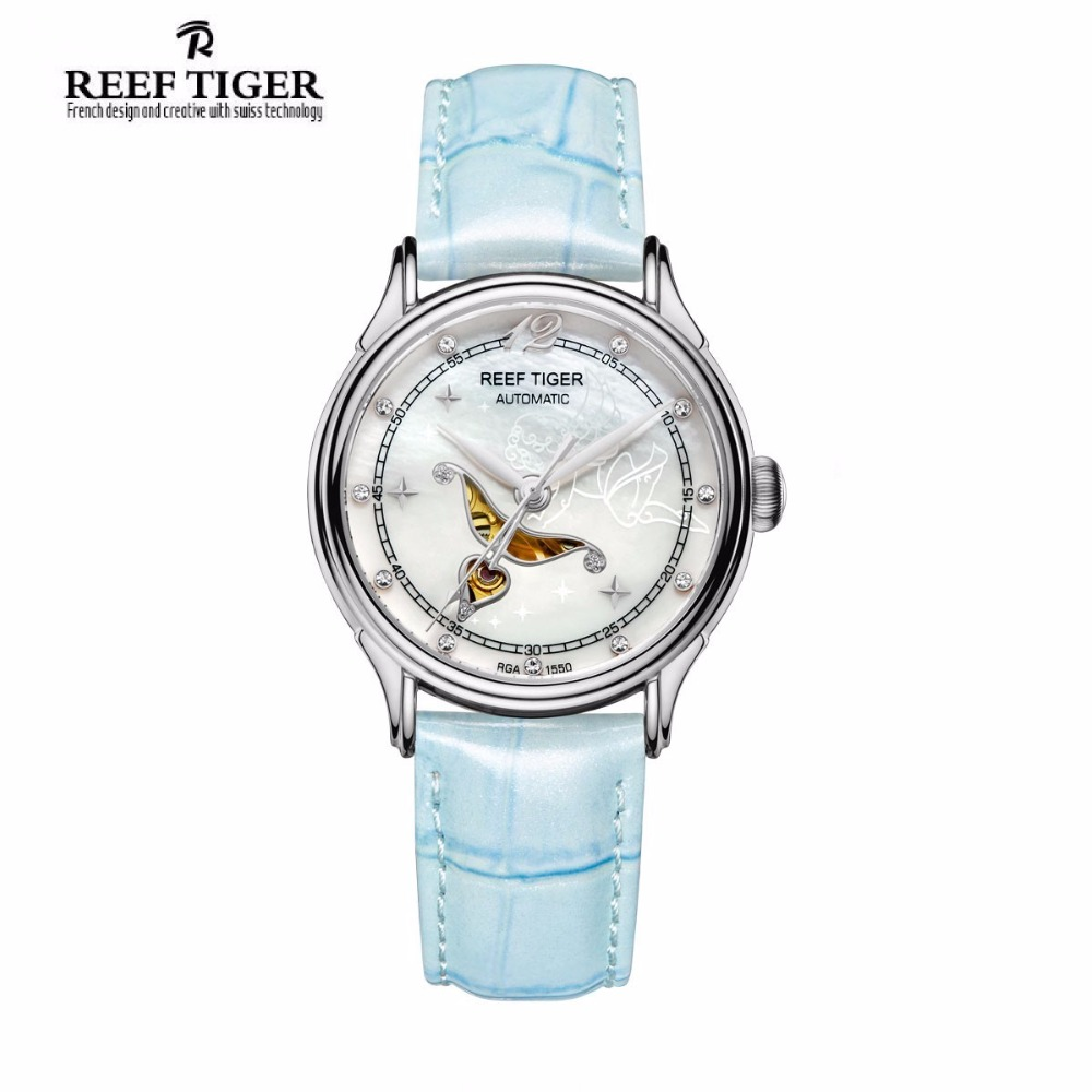 цена на Reef Tiger Fashion and Elegant Steel Watch For Ladies Diamonds White MOP Dial Automatic Wrist Watches RGA1550