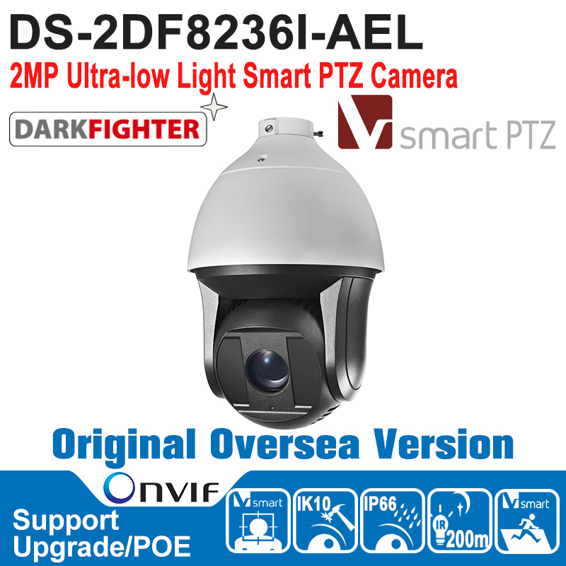 DS-2DF8236I-AEL HIK PTZ Camera 2MP Full HD Ultra-low Light Smart PTZ Camera Outdoor 1080P Hi-PoE, 24VAC IK10 CCTV Camera newest hik ds 2cd3345 i 1080p full hd 4mp multi language cctv camera poe ipc onvif ip camera replace ds 2cd2432wd i ds 2cd2345 i