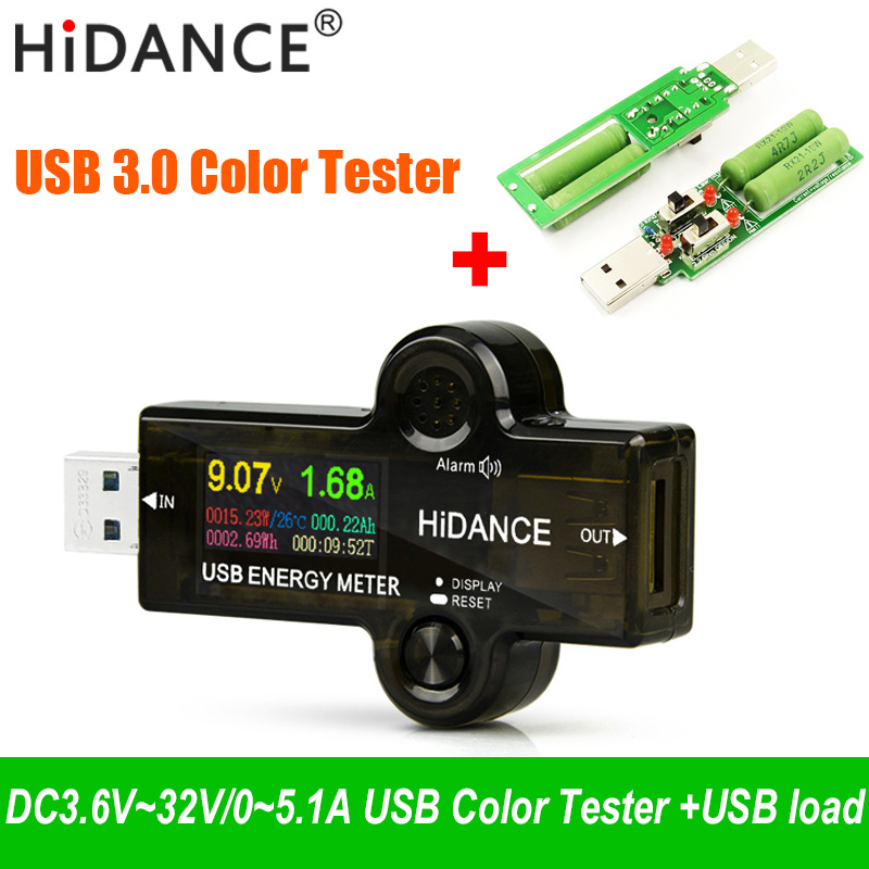 USB 3.0 Tester Voltmeter Current Voltage Color Meter Volt Amp Ammeter Detector Battery Power Bank Charger Indicator + Usb Load
