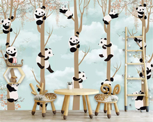 beibehang Custom fashion stereo silky wallpaper Nordic simple panda children house background wall papers home decor