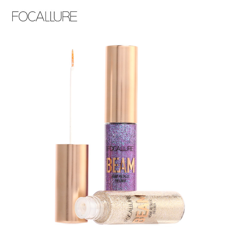 Focallure long lasting Eyeliner Pencils Liquid Glitter Eye Liner White Gold Color Shining Shimmer Eye Liner Makeup Pen