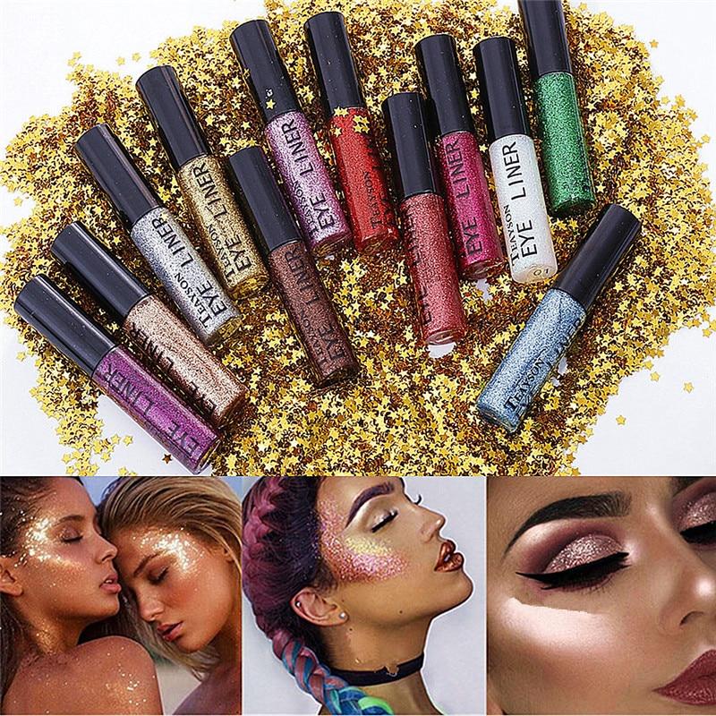 15Pcs/set TEAYASON Brand Shining Glitter Liquid Eyeliner Pencil 24 Hour Silver Purple Color Shimmer Eye Liner Make Up Cosmetics