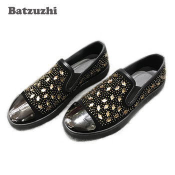 Italian Style Fashion Men Shoes Round Toe Black Loafers Shoes Casual Rhinestones Loafers Mocassin homme Men Party zapatos hombre