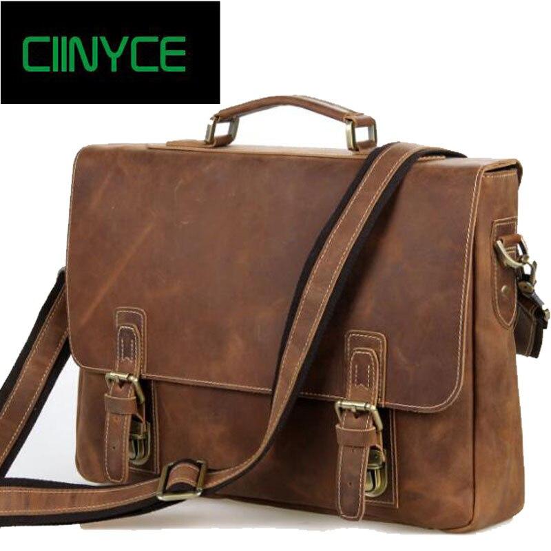 6a201ced44d8 100% коровьей кожи Для Мужчин's Crazy Horse кожа большой мужского плеча  Бизнес сумка ноутбук человека сумки Портфели