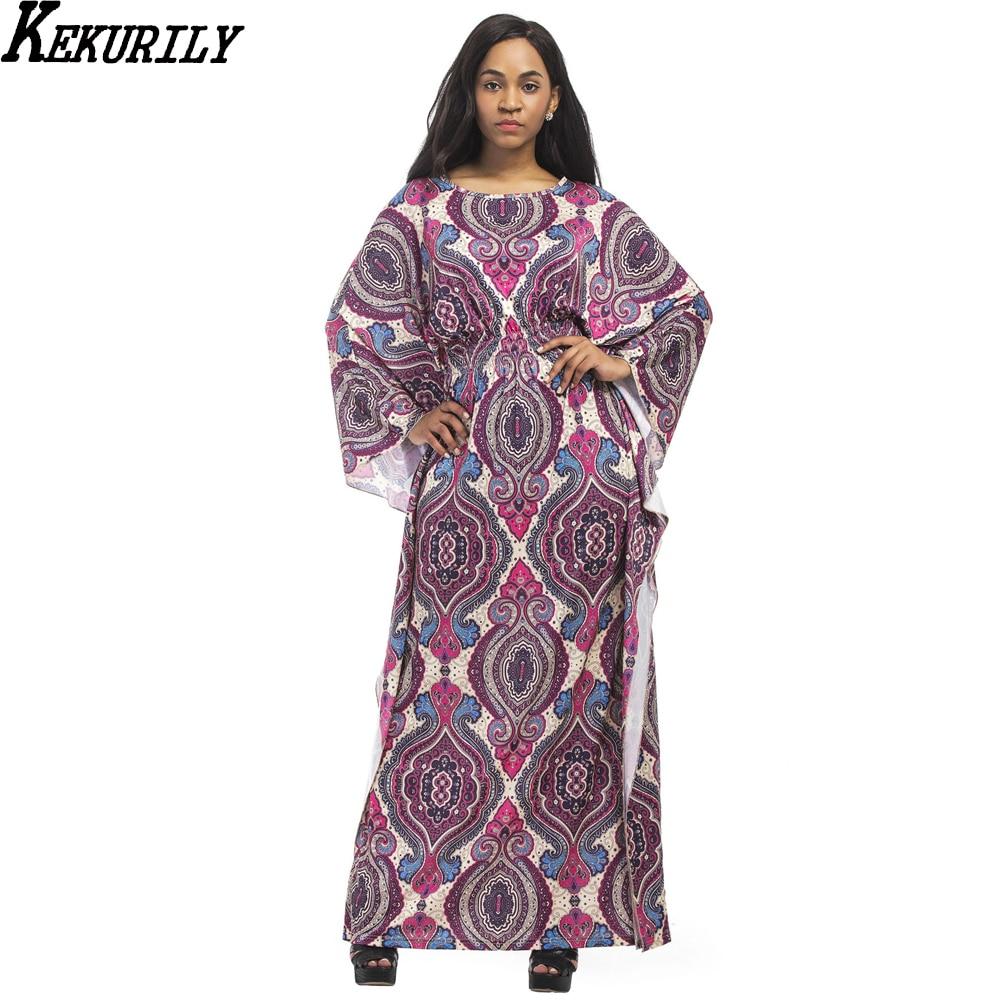 Ethnic Style Print Dashiki Oversize long t shirt dress women plus size large maxi party dresses batwing sleeve milk silk clothe