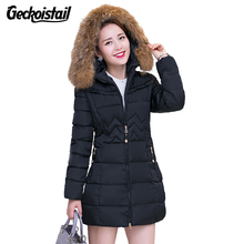 Geckoistail Autumn Winter Jacket Women Parkas for Coat Fashion Female Down Jacket With a Hood Large Faux Fur Collar Plus Size