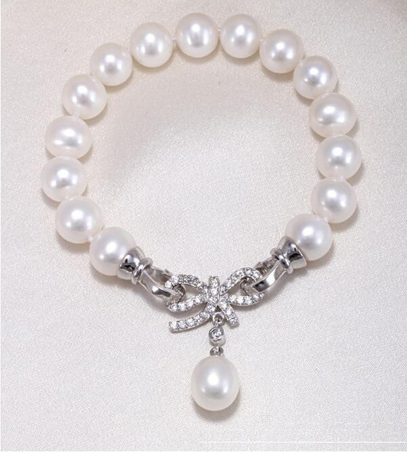 Natural Freshwater Pearl Bracelet Perfect Circle Flawless Crystal Bow Valentine S Day Gift To Send His