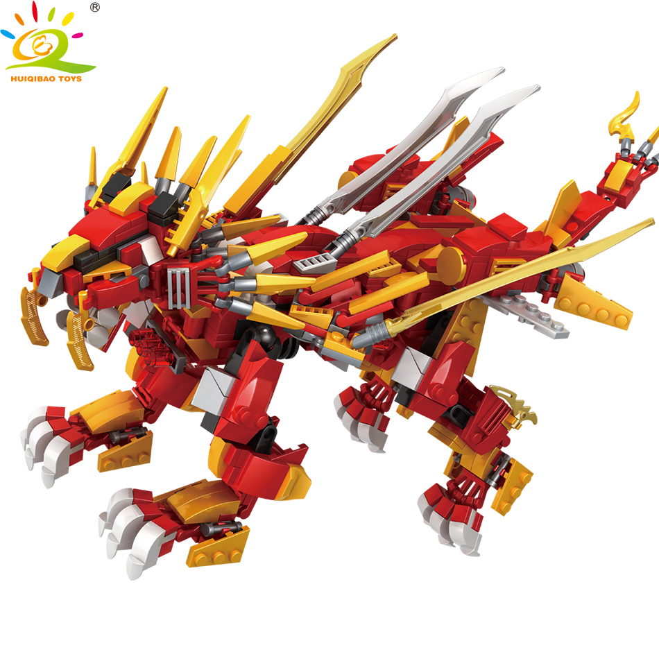 HUIQIBAO 800+Pcs Red Ninja Fire Lion Model Building Blocks Kai Jay Figures Dragon Educational City Toys for Children Boy Friend