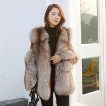 Natural Fox Fur Coat Women Winter 2018 New Fashion Cashmere Sleeve Jacket Genuine Fur Clothing Ladies Real Fox Fur Coat Jacket