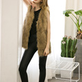Women winter mink fur waistcoat jacket fake fur vest gilet sleeveless lapel outerwear jacket keep warm Coat V neck plus size