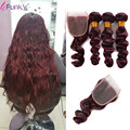 99j 7A Mink Eurasian Loose Wave 4 Pcs Lot Dark Red Human Hair Brazilian Virgin Hair Burgundy 3 Bundles With 4x4 Closure Red Wine
