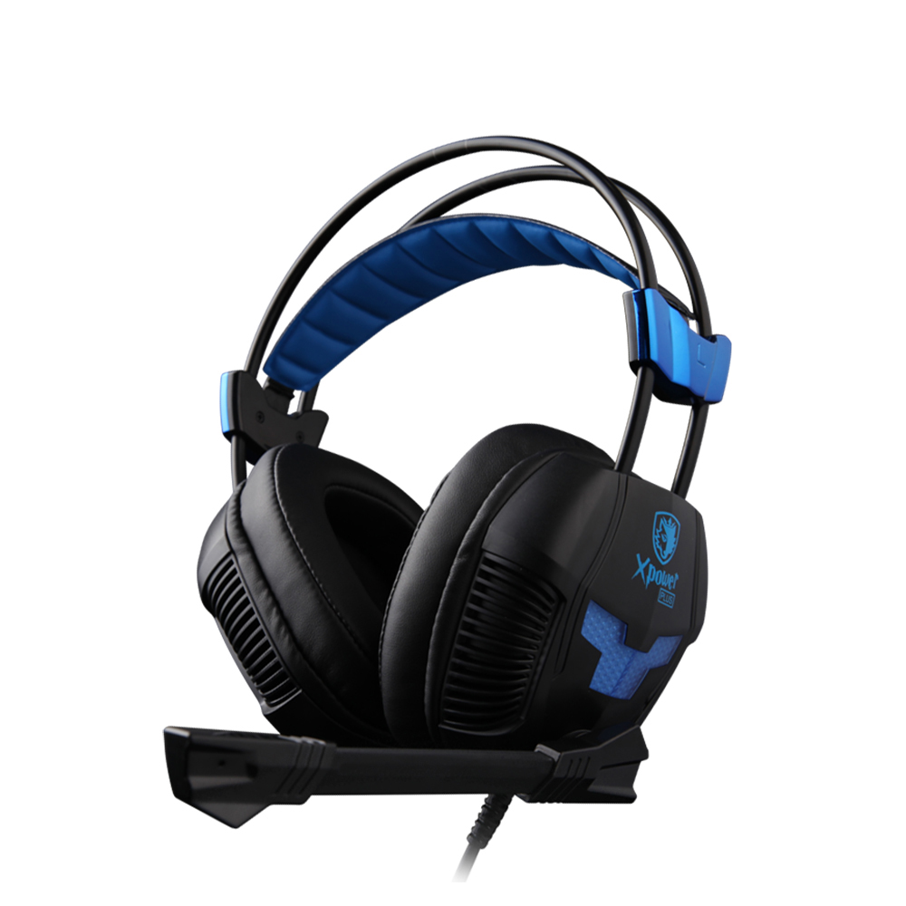 SADES XPOWER PLUS Headphones Stereo Sound 2-level Vibration Effect Headset with RGB Light for Gamer