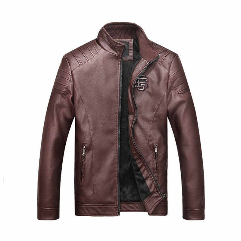 Men Leather Overcoats Brand Fashion Stand Collar Zipper motorcycle leather jackets Parka jaqueta de couro Plus Size L-3XL