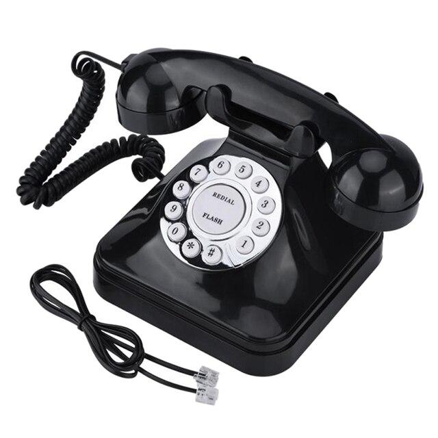 W stylu Vintage Retro czarny wielofunkcyjny telefon stacjonarny ich numer telefonu lub dokładny adres jedna linia obsługa Home przewód telefoniczny telefon stacjonarny
