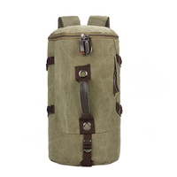 Large Capacity Men Backpack Canvas Pack Bucket Shoulder Bag Man Travel Mountaineering Backpacks Multi Function Bags