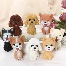 Car Ornaments Natural Resin Simulation Shaking Head Puppy Cute Doll Decoration Furnishing Articles Interior Accessor