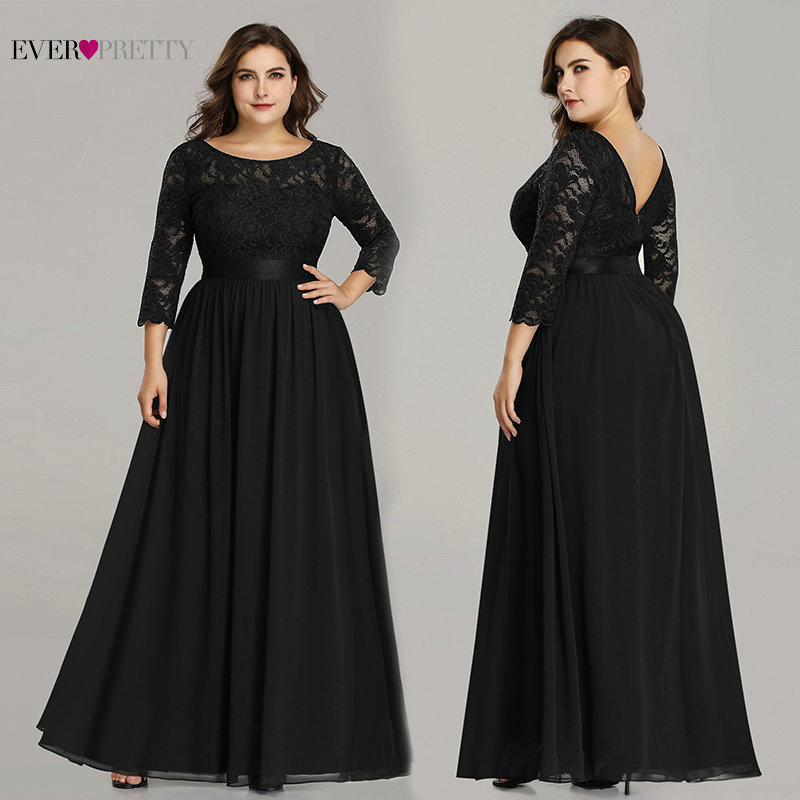 Plus Size Mother Of The Bride Dress Ever Pretty EP07412 Elegant A-Line Chiffon 3/4 Sleeve Lace Long Wedding Party Dresses