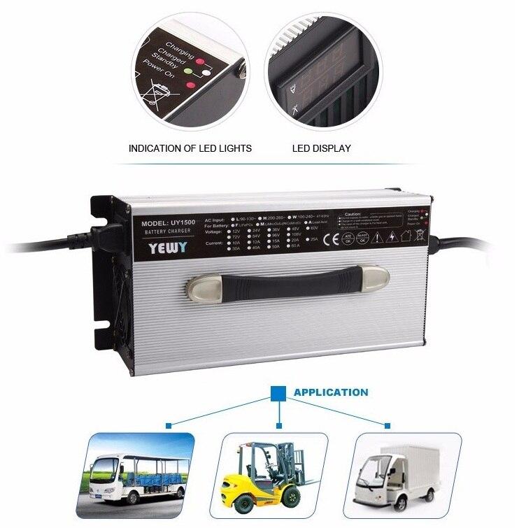 1200 W lithium LED affichage chargeur de batterie 54.6 13 S V 20 ampères voiture/véhicule/chariot élévateur ventilateur de refroidissement chargeur de batterie