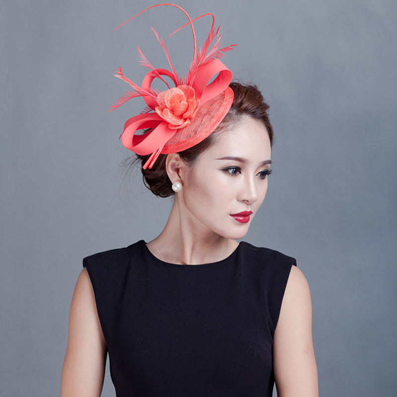 84cd44088c5 MYADREAM 2 Feather Elegant Sinamay Flower Fedora Hat Wedding Hair  Accessories Black Pink Fascinators Hats for Women Chapeu -in Fedoras from  Apparel ...