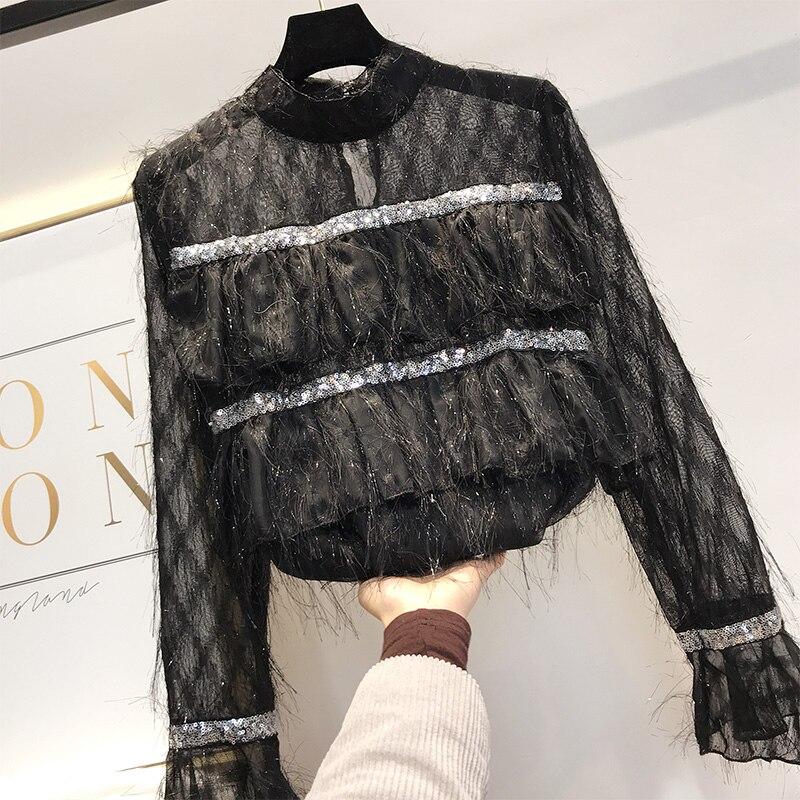 Women Stand Blouse Shirt 2019 Temperament Vertical Layered Fringed Sequins Blouse Tops