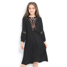 Figwit Teengage Girl Spring Autumn Dress 2019 Mideast Black Long Sleeve Chiffon Mesh for Girls Summer Boho Vestido