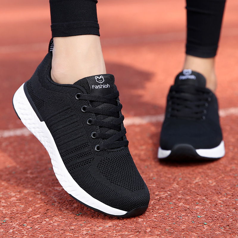 Fashion Women Casual Shoes Mesh Sneakers Platform 2019 Women Breathable Air Mesh Flats Lace Up Shoes Female Walking Footwear(China)
