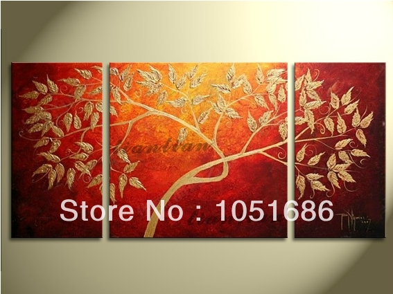 3 Panel Modern Abstract Red Canvas Art Hand Painted Oil Painting Tree Branches Picture Set Wall