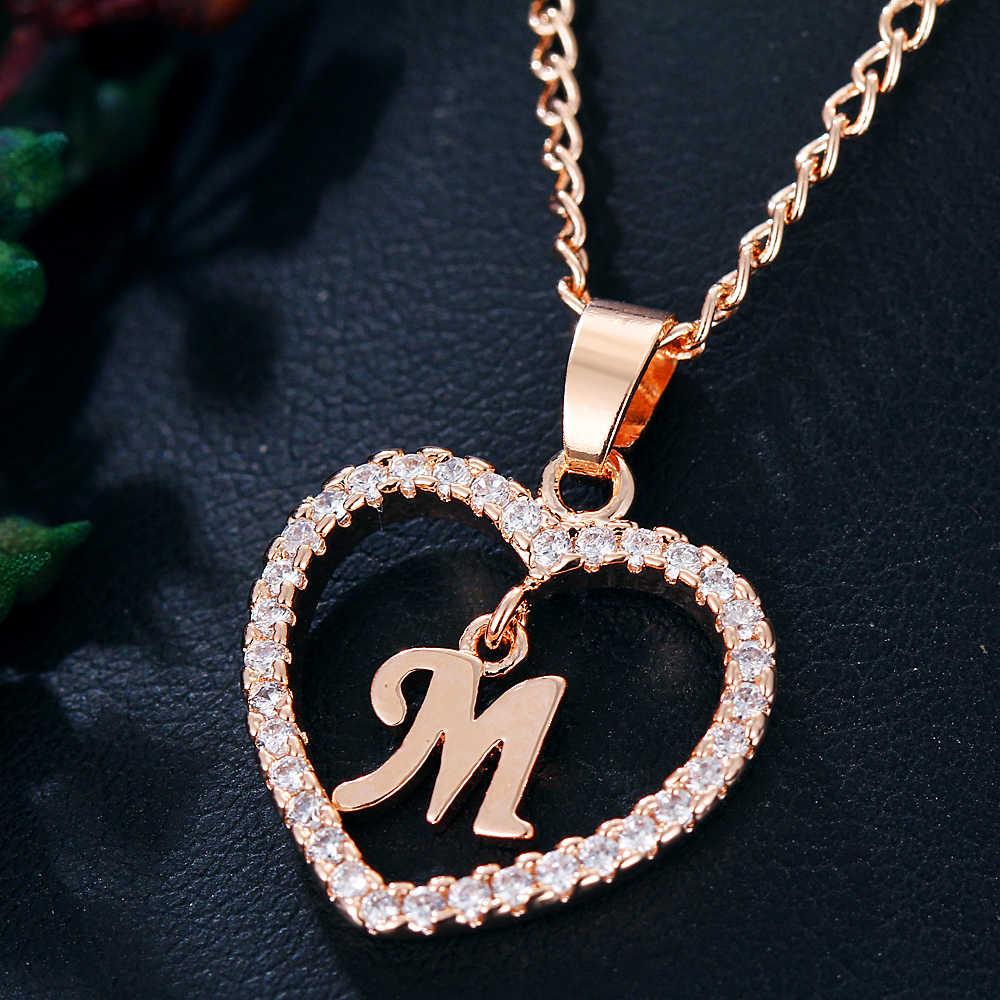 私場合ロマンチックなゴールドカラーキュービックジルコニアラブハートクリスタルペンダント文字の名前のネックレスチャーム女性 26 手紙チョーカージュエリー