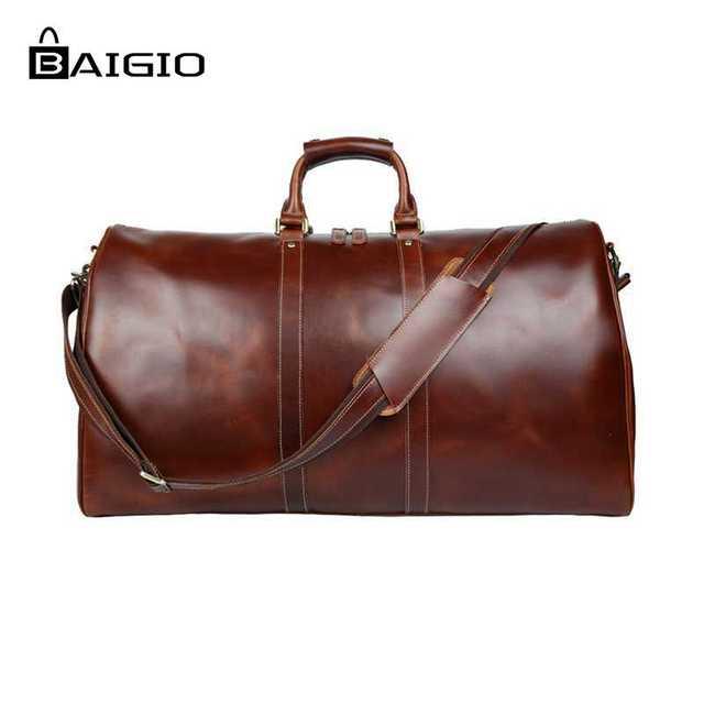 8679b6a12df Baigio Men Travel Bag Leather Bag Vintage Brown Designer Travel Overnight  Tote Large Capacity Luggage Bag Shoulder Travel Bag