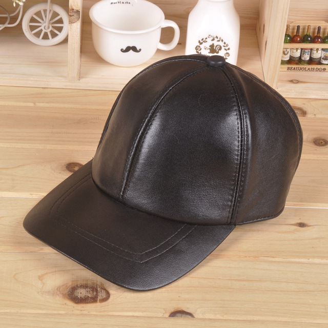 9db3ed2e410f3 100% Leather casquette Men Women autumn and winter sheepskin leather  baseball cap outdoor leisure sports