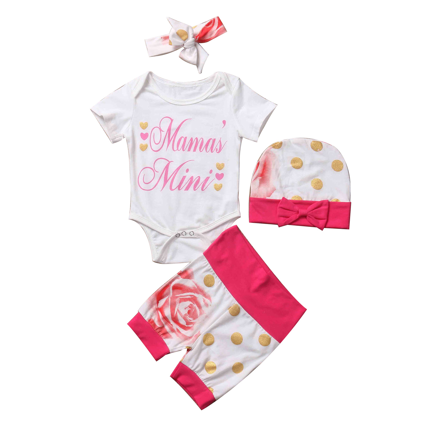 4Pcs Summer Newborn Infant Baby Girls Clothes Short Sleeve White Romper Jumpsuit+Floral Pants+Hat+Headwear Outfits Cute Baby Set