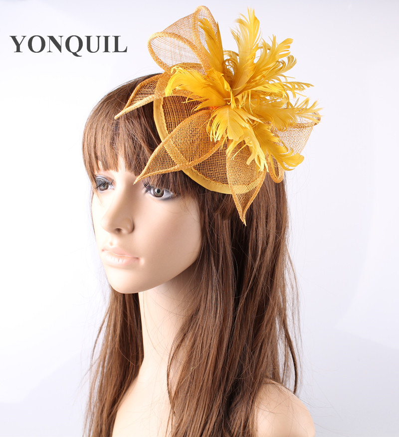 Gold or multiple colors sinamay  hats feather flower fascinators for party hats bridal hair accessories  cocktail hats OF153512 women s hats and fascinators vintage sinamay sagittate feather fascinator with headband tocados sombreros bodas free shipping