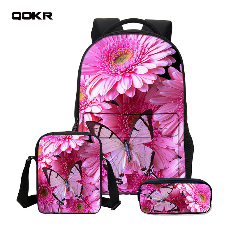 QOKR 3D Cartoon Printed Backpack Children Combination School bags butterfly crossbody bag+pencil bag 3PCS/SET boys and girls bag ...